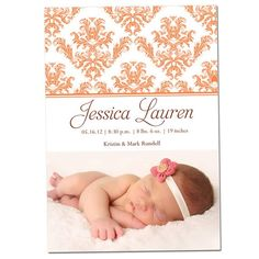 Damask Letterpress Photo Card Baby Girl Birth Announcement