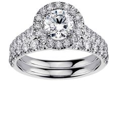 Platinum 2 1/4ct TDW Diamond Engagement Bridal Set (G-H, SI1-SI2) (Platinum - Size 6.0), Women's, White (solid)