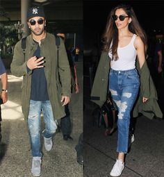 Ex-flames Ranbir Kapoor and Deepika Padukone were colour coordinated at the airport – view pics! #FansnStars