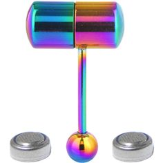 Rainbow Titanium LIX Vibrator Tongue Ring   Body Candy Body Jewelry