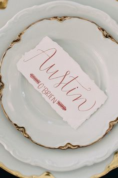 blush and gold wedding place card