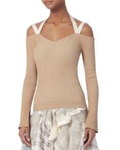 Julia Strap Detail Off Shoulder Knit Top, BEIGE/KHAKI, hi-res