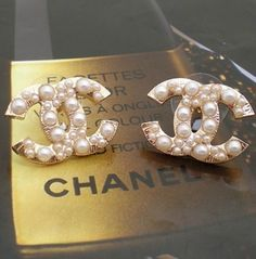 chanel pearl earrings- I NEED THIS! I love pearls and Chanel! Chanel Pearl Earrings, Chanel Jewelry, Jewlery, Chanel Earrings Classic, Vintage Chanel Earrings, Stud Earrings, Dainty Earrings, Pearl Jewelry, Sterling Silver Earrings