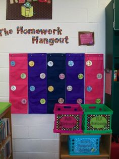 Handing in homework. This is a cute idea for seeing at a glance in you are missing any homework. I just hope I can find enough wall space!