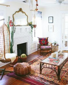 Antique mirror, boho, colorful decorating inspiration.