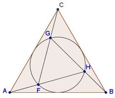 Triangles ABC and FGH are equilateral, with the circumcircle (FGH) being the incircle of ΔABC in such a manner that F is on AH, G on CF, and H on BG.  Then FHAF=GHBH=FGCG=ϕ, the golden ratio.
