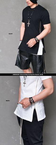 Tops :: Tees :: Street-edge Open Side Zip Round-Tee 562 - Mens Fashion Clothing For An Attractive Guy Look
