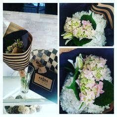 White Annabelle Hydrangea,  Pink Hydrangea and White Lilies Bouquet