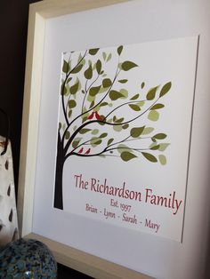 Personalized Family Tree Print to frame, Custom Anniversary Gift,  Modern Family Tree Gift, Gift for her, Housewarming Gift, #3 Tree