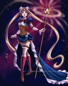 Steampunk Sailor Moon Print by briannacherrygarcia on Etsy Arte Sailor Moon, Sailor Moon Fan Art, Sailor Moon Character, Sailor Neptune, Sailor Moon Crystal, Sailor Mars, Sailor Saturn, Princesa Serenity, Neo Queen Serenity