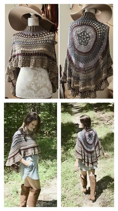 Circular Asymmetric Long Poncho Crochet Pattern