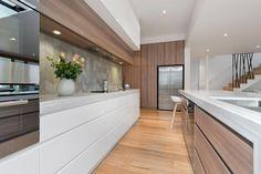 Custom Kitchen Rennovation Done in Melbourne - RoomFour White Kitchen Island, Open Plan Kitchen, New Kitchen, Living Room Kitchen, Home Decor Kitchen, Kitchen Interior, Kitchen Ideas, Kitchen Designs, Luxury Kitchens