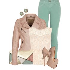Nude Leather Jacket, created by deniselanders on Polyvore