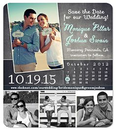 """Save the Date  """"Urban Calendar"""" Chalk Save the Date Magnet"""