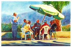 """Daily+Paintworks+-+""""Cards+in+the+sun.""""+-+Original+Fine+Art+for+Sale+-+©+Graham+Berry"""