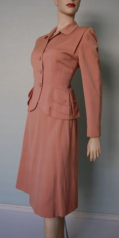 A beautiful pink 1940s Wool Gabardine Skirt Suit. #vintage #fashion #1940s