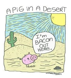 "A pig in a desert: ""I'm bacon out here."" from funny pun 