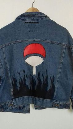 Veste Uchiha - by UsuraTonkachi Anime Inspired Outfits, Anime Outfits, Cool Outfits, Fashion Outfits, Painted Jeans, Painted Clothes, Custom Clothes, Diy Clothes, Naruto Shoes
