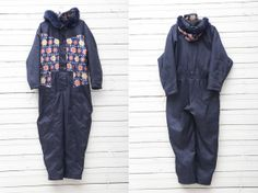 1990s Dark Blue Skirwear Onepiece Snow Suit by by CoverVintage, $55.00