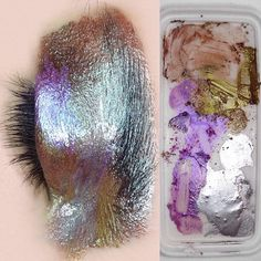 Make your eyelids like the palette.. Makeup on the eye vs. The palette I used to paint the eye  #moltensilver #silversweep #beasweet #makeup #makeupinspo #makeupjunkie #fashion #beauty #silver #silvereyelids #metalliceyes #metalmakeup #makeupinspiration #shiny #shinymakeup #holographic