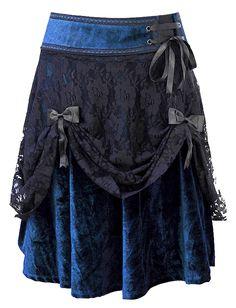 Navy blue velvet under lace, gorgeous!! The Violet Vixen - Lifted Lace Navy Blue Velvet Skirt, $83.00 (http://thevioletvixen.com/clothing/lifted-lace-navy-blue-velvet-skirt/)