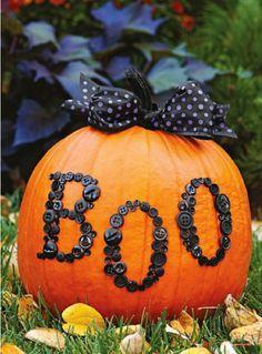 Boo BUTTON Pumpkin Halloween Decorating