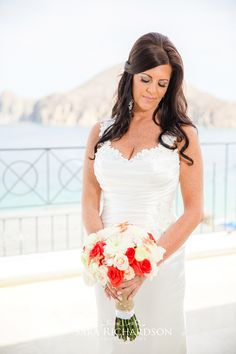 Brenda & Craig's wedding | Blanc Bridal Salon by Neysa Quintana | Los Cabos Salon | Bridal Hairstyle | Bridal updo | Flowers | Los Cabos Wedding | Destination Wedding | Hairstylist | Los Cabos Hairstyle | Beach wedding Hair and makeup | Photography by Sara Richardson | For her bridal hairstyle we did a half up, half down hairstyle with volume thru the crown and loose waves. We used extensions to achieve the length and volume that she desired.