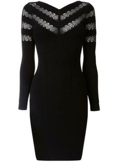 Black Sexy Dress - Bqueen Black Lace Stripe Bodycon