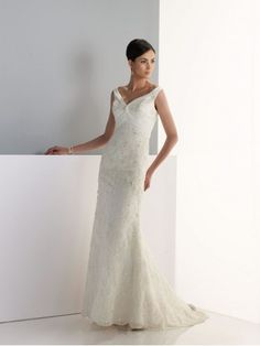 Organza Sleeveless Low Scoop Back Bodice V-Neckline A-line Wedding Dress