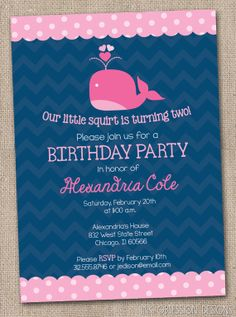 Printable Girls Pink Whale Birthday Party by InkObsessionDesigns, $13.00