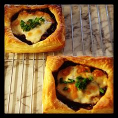 Made by my Sister, home made goats cheese and caramelised red onion puffy pastry tarts!