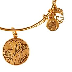 Alex And Ani Sister Expandable Wire Bangle Russian Gold