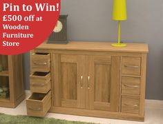 Wow!! You could win this stunning Oak Sideboard with our great new Pinterest Competition! See our Pinterest page or the site for more details.