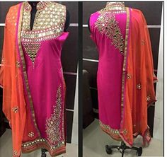 This is lovely pink color mirror work anarkali dress and it is a georgette material dress for women. In the dress design is collar neck and sleeves are available and it is a free size anarkali dress. In the dress top has a front and back side fully has a mirror work and it is semi stitched and bottom is unstitched. In the dress dupatta color is orange and it has a gold color border and mirror work and mirrors are real not a paper.