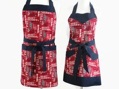 His and her, couples matching patriotic, 4th of July, BBQ aprons in a dark red and dark navy blue patriotic/USA words cotton print. Available in three mens and three womens sizes (including plus size), and two womens design choices (as shown in pictures 1-3 or with a sweetheart neckline and ruffled bottom hem like the example shown in last picture). Both aprons are fully lined, including pockets in a solid dark navy blue cotton. While there are no pockets on the reverse side, you could ...