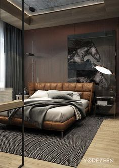 Cool Masculine Bedroom for Mens with Brown Leather Bedroom and Horse Wall Pict D. Cool Masculine Bedroom for Mens with Brown Leather Bedroom and Horse Wall Pict Decor Men's Bedroom Design, Home Decor Bedroom, Bedroom Furniture, Bedroom Ideas, Wall Design, Bedroom Bed, Bedroom Interiors, Bedroom Inspo, Bedroom Flooring
