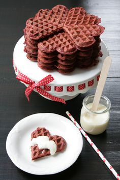 Red Velvet Waffles and Cream Cheese Syrup //andcute.com