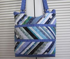 Patchwork Tote Bag Blue Selvedges Zippered