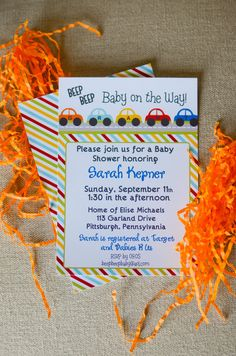 CARS Beep Beep Baby Shower/Birthday Invitation by LibbyLanePress, $17.00  Possible birthday Invitations for Little Man's 2nd birthday