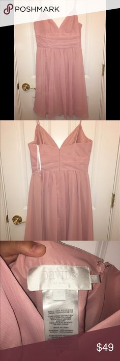 David's Bridal Spaghetti Strap Bridesmaid Dress A stunning dress that was worn one time in a wedding and has been dry cleaned since. In the ballet color, this will look great with any skin tone! Originally $99.95 selling for half the price or best offer! David's Bridal Dresses