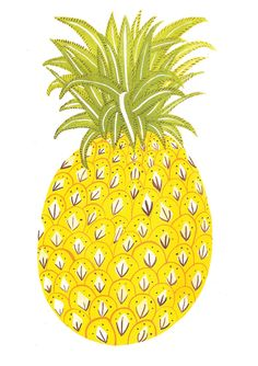 For Leah x Pineapple / Caroline Dowsett Food Illustrations, Illustration Art, Pineapple Illustration, Poster Art, Mellow Yellow, Surface Design, Artsy Fartsy, Just In Case, Print Patterns