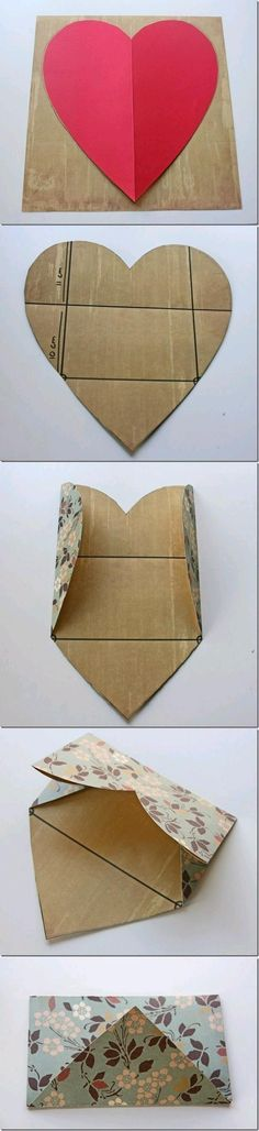 fold a heart envelope. Might be nice with a gift. Heart Crafts, Heart Diy, Diy Paper, Paper Crafts, Fabric Crafts, Heart Envelope, How To Make An Envelope, How To Make Envelopes, Diy Cards
