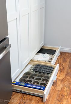 Toe Kick Drawers for additional storage below cabinets!