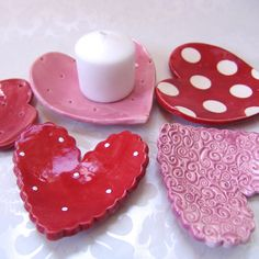 5 ceramic Heart dishes SET red pink & white polka dots by maryjudy, $28.00