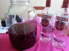 "Sour cherries, sugar, vodka.  ""nuff said""."