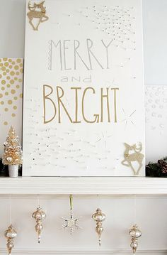 Merry & Bright sign in metallic paints