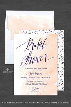Beautiful nude blush peach watercolor Bridal Shower cards with modern elegant deep purple calligraphy. Tiny hand drawn abstract details. Matching envelope liner and other accessories also available at digibuddha.com
