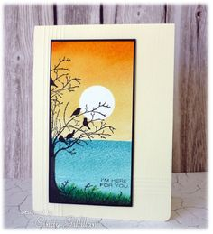 handmade card: Birds in a Tree by Cindy Gilfillan ... sponged/brayered sunset shoreline scene ... silhouette birds on branches ... luv the bright colors ...