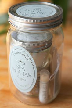 Spa in a Jar with personalized labels from Evermine (www.evermine.com) Good gift maybe for like mothers day.