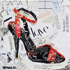 "Gaga Love is a small torn paper collage painting of a high heel, 8""x8"" on gallery wrapped canvas"